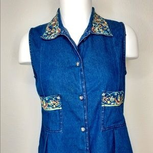 RARE VINTAGE Embroidered Pleated Denim Top Sz: S